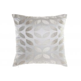 CUSHION POLYESTER 45X45X10 450 GR. LEAVES BEIGE