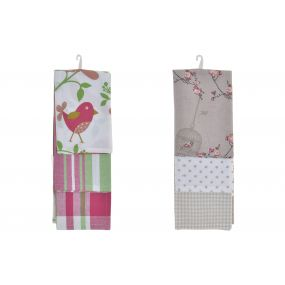CLOTH SET 3 COTTON 60X40 FLORAL 2 MOD.