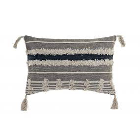 CUSHION COTTON 35X55 FLECOS EMBROIDERY GREY