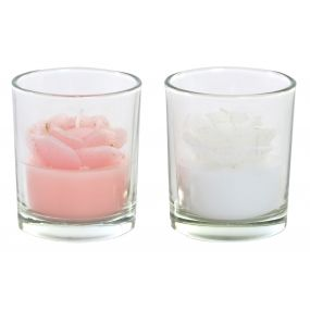 CANDLE GLASS WAX 5X5X6 30 GR. FLOWER 2 MOD.