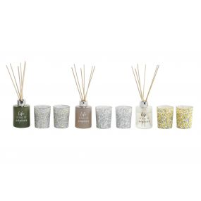 FRAGANCE DIFFUSER SET 3 GLASS 5X5X9 60 ML. 3 MOD.