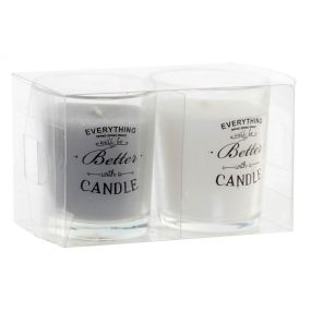 CANDLE SET 2 GLASS WAX 11X5,5X6,5 WHITE