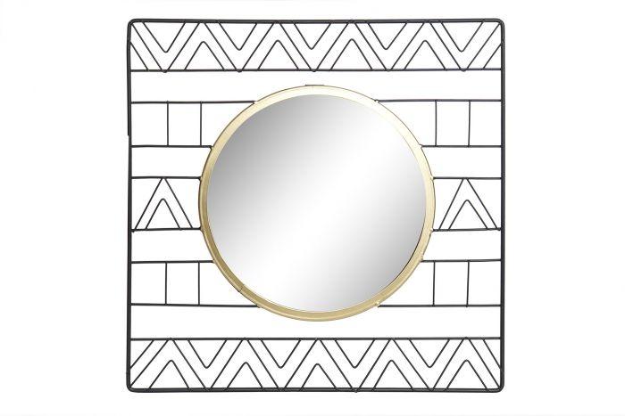 Wanddecoratie - Spiegels - Mirror metal glass 40x2x40 cenefa black