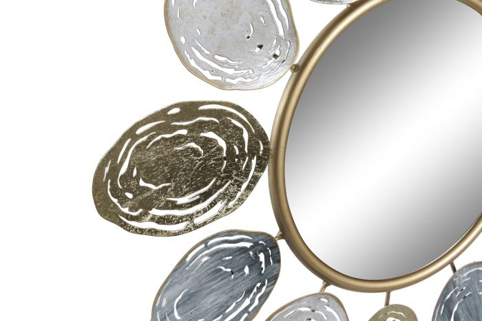 Wanddecoratie - Spiegels - Mirror metal mirror 61x2x61 leaves golden