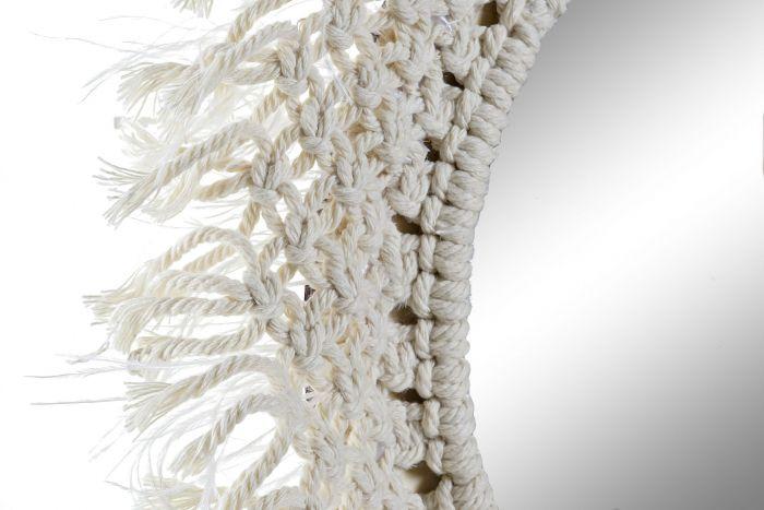 Wanddecoratie - Spiegels - Mirror cotton macrame 38x3x38 natural beige
