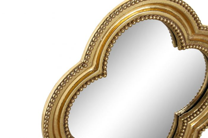 Wanddecoratie - Spiegels - Mirror set 4 resin glass 19,5x2,2x19,5 golden