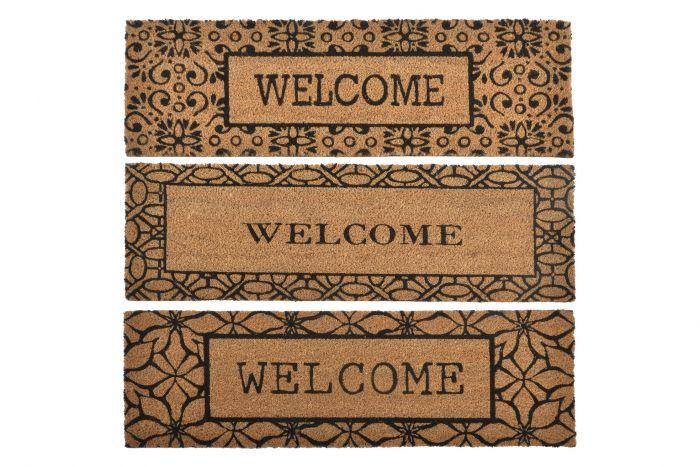 Woonaccessoires - Deurmatten - Doormat coco fiber pvc 75x25x1,5 welcome 3 mod.