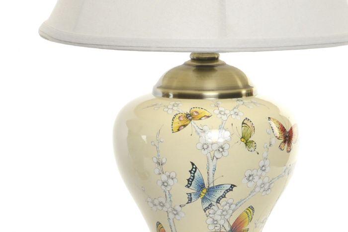 Lampada Da Tavolo Ceramica 36x36x56 Farfalle 2 Mod