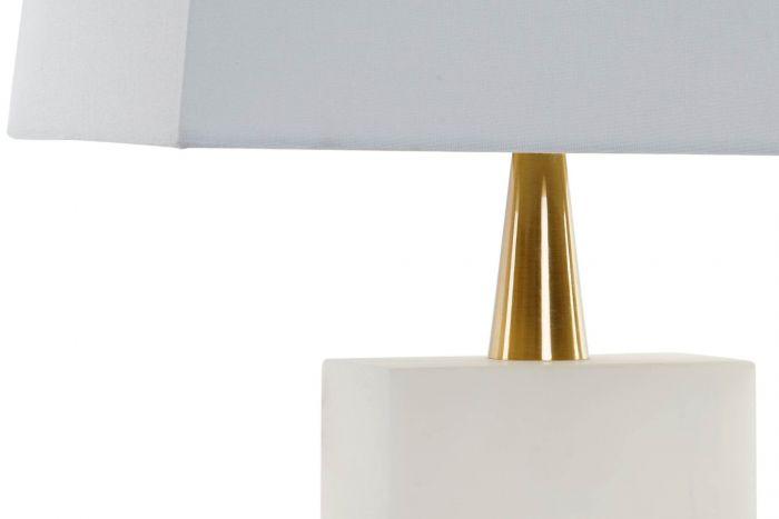 Lampada Da Tavolo Marmo Metallo 40x23x64 Bianco