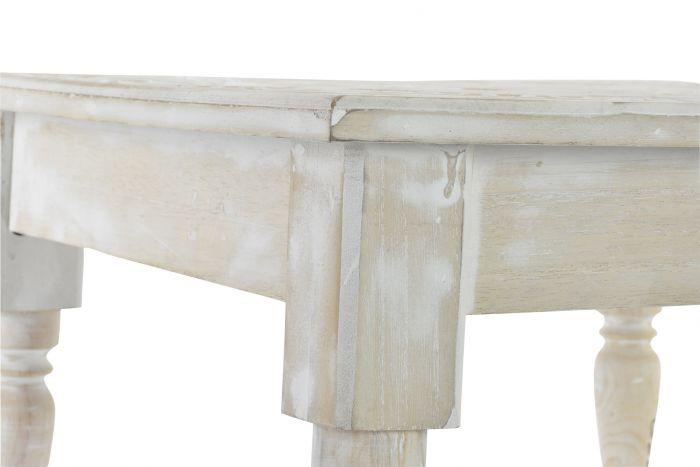 Tavolino Legno 45x45x26 Etnico Invecchiato Bianco