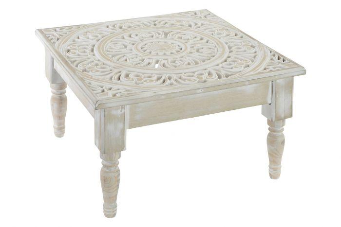 Tavolino In Legno Etnico.Tavolino Legno 45x45x26 Etnico Invecchiato Bianco