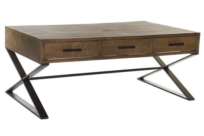 Coffee Table Spruce Metal 120x70 5x48 3 Drawers