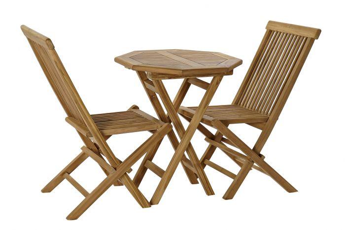 Tafel - Tuintafels - Table set 3 teak 60x60x75 2 chairs natural brown