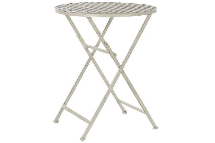 Tafel - Tuintafels - Table metal 60x60x74 folding aged white