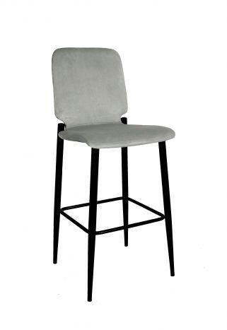 Stoel - Barkrukken - Stool velvet metal 43,5x52x109 velvet light gray