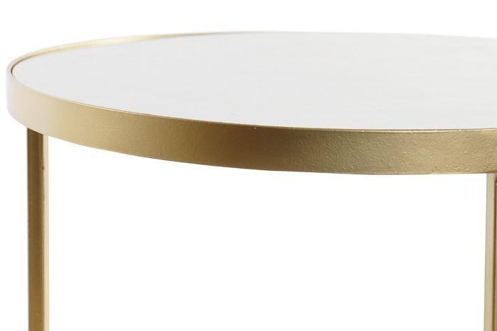 Tafel - Salontafels - Auxiliary table set 2 wood metal 35x35x44 white