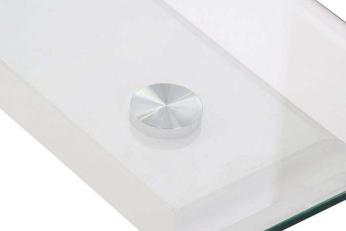 Tafel - Salontafels - Coffee table wood glass 120x65x42 lacquered white