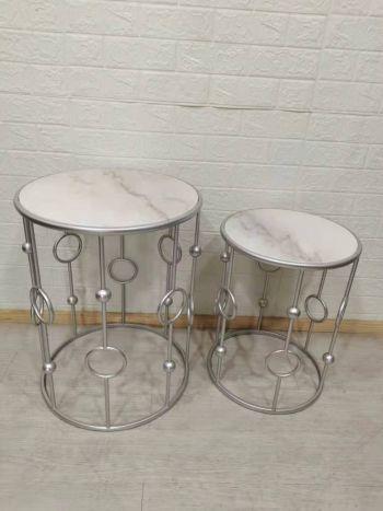 Tafel - Salontafels - Auxiliary table set 2 marble metal 46x46x60 silver