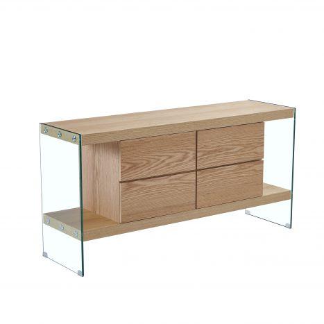Kast - Dressoir - Buffet glass mdf 160x45x80 light brown