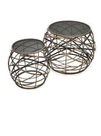 Tafel - Salontafels - Auxiliary table set 2 metal glass 60x60x45