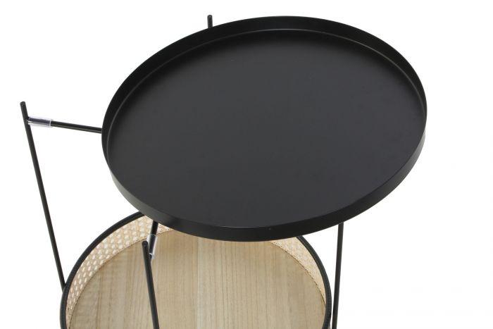 Tafel - Salontafels - Auxiliary table metal rattan 40x40x49 rack