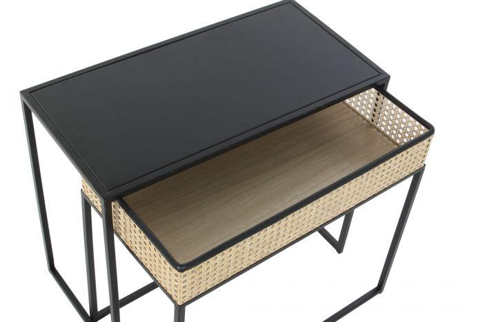 Tafel - Salontafels - Coffee table metal rattan 60x30x50 rack