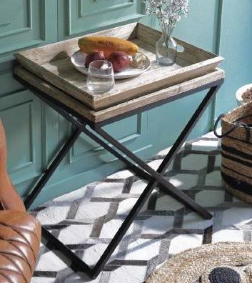 Tafel - Salontafels - Auxiliary table wood metal 55x45x56 tray