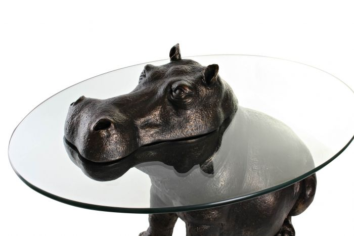 Tafel - Salontafels - Auxiliary table resin glass 65x50x45 hippopotamus