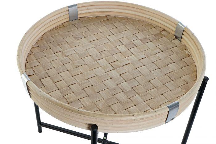 Tafel - Salontafels - Coffee table wicker metal 42,5x42,5x38 natural