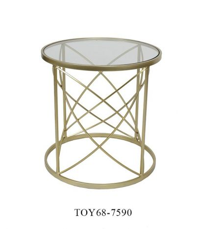 Tafel - Salontafels - Auxiliary table metal glass 50x50x51 golden
