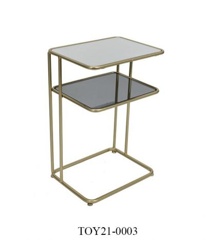 Tafel - Salontafels - Auxiliary table metal glass 40,5x31x61 golden