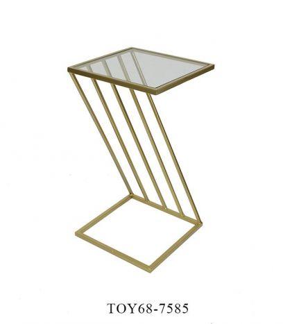 Tafel - Salontafels - Auxiliary table metal glass 30,5x30,5x56 golden