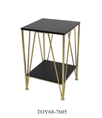 Tafel - Salontafels - Auxiliary table metal wood 41x41x63,5 golden