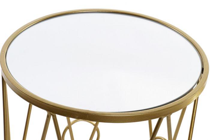 Tafel - Salontafels - Auxiliary table set 2 metal mirror 35x35x65 golden
