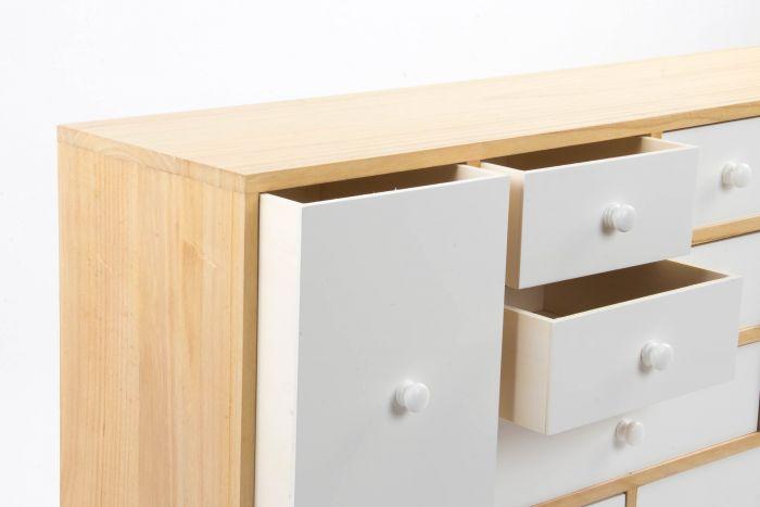 Kast - Dressoir - Buffet wood paulownia 95x25x67,5 10 drawers white