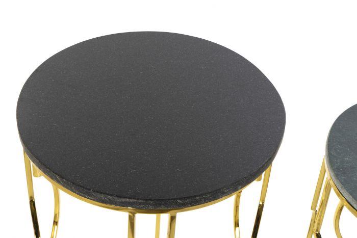 Tafel - Salontafels - Auxiliary table set 2 marble metal 40x40x62