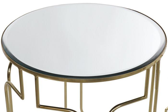 Tafel - Salontafels - Auxiliary table set 3 metal mirror 46x56 golden