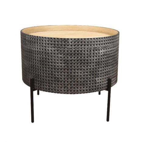 Tafel - Salontafels - Auxiliary table mdf metal 45x45x39 top aged