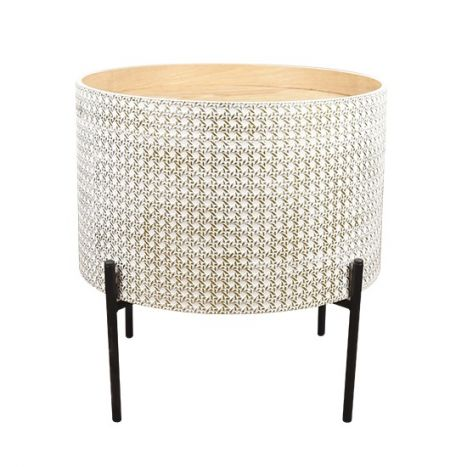 Tafel - Salontafels - Auxiliary table mdf metal 45x45x39 top aged white