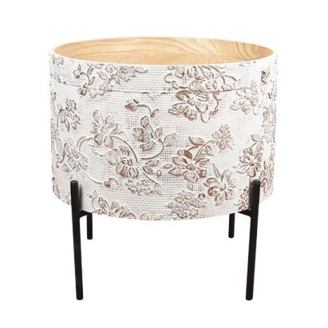 Tafel - Salontafels - Auxiliary table mdf metal 38x38x39 top white