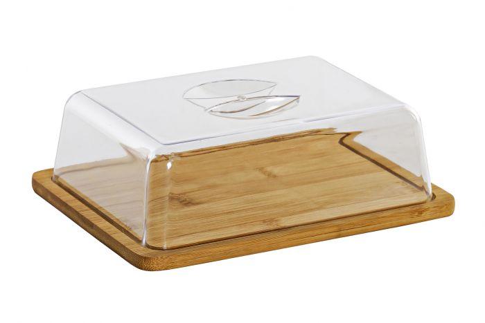 recipiente para pan con tapa, 36 x 20 cm, color blanco y azul tabla para cortar Panera de bamb/ú con tapa de madera cesta para el pan
