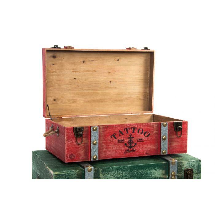Vintage Metal Baul Madera 3 80x51x33 Set EH9DIW2
